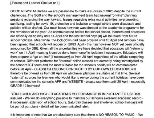 Ouer-en leerder-omsendbrief nr 1 | Parent and Learner Circular no 1